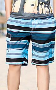 男性用 ブルー グリーン ルビーレッド スイミングトランクス ボトムス スイムウェア - ストライプ XL XXL XXXL ブルー