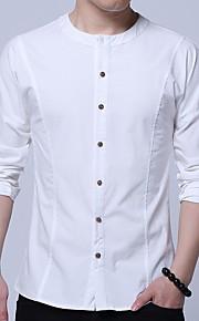 メンズコットンシャツ - 無地ラウンドネック