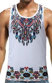 Ανδρικά Αμάνικη Μπλούζα Συνδυασμός Χρωμάτων Στρογγυλή Λαιμόκοψη Λεπτό