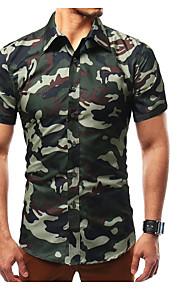 男性用 プラスサイズ シャツ カモフラージュ