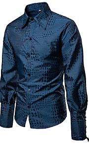 Hombre Chic de Calle Fiesta Camisa, Cuello Inglés Un Color Azul Piscina L / Manga Larga