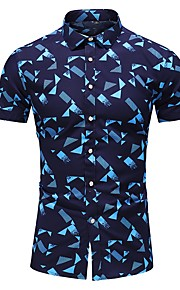 Heren Overhemd Geometrisch Wit XXXXL