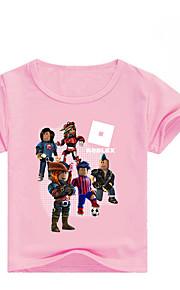 Děti Dívčí Základní Tisk Krátký rukáv Bavlna / Spandex Košilky Světlá růžová