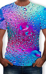 Miesten Pyöreä kaula-aukko Painettu Color Block / 3D / Kuvitettu T-paita Uima-allas XXXXL