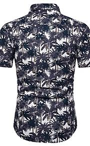 Heren Print Overhemd Bloemen / Geometrisch / Kleurenblok blauw XXXL