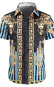 Heren Print Overhemd Geometrisch blauw XL