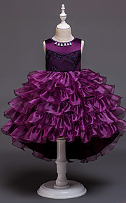 Děti / Toddler Dívčí Aktivní / Sladký Jednobarevné Vícevrstvé Bez rukávů Asymetrické Šaty Světlá růžová