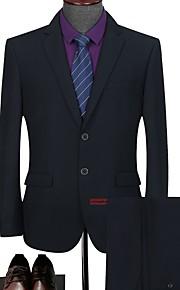 Hombre trajes Solapa Redonda Poliéster Azul Piscina / Negro XXL / XXXL / XXXXL