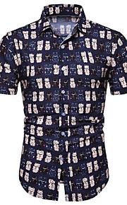Heren Print Overhemd Geometrisch / Kleurenblok / Paisley blauw XXXL
