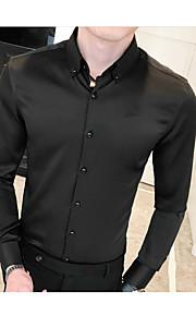 Heren Overhemd Effen Klaver XL