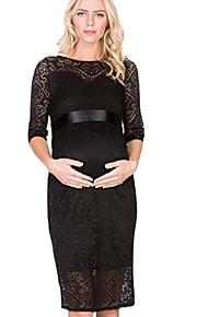 Dámské Základní Elegantní Shift Šaty - Jednobarevné, Krajka Nad kolena