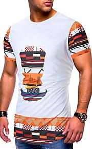 Hombre Retazos / Estampado Camiseta Geométrico / Gráfico Blanco L