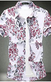 Heren Print Overhemd Geometrisch Wit XXXXL