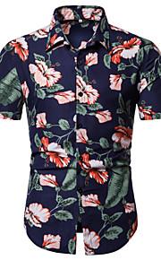 Муж. Рубашка Однотонный Цвет радуги XL