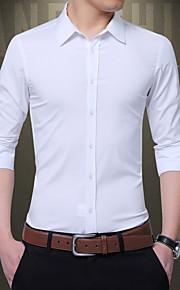 Муж. Пэчворк Рубашка Однотонный Черный XXXL