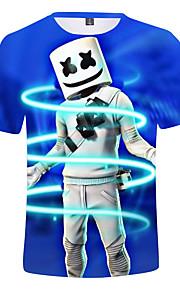 Děti Chlapecké Aktivní Tisk Krátký rukáv Bavlna / Spandex Košilky Námořnická modř