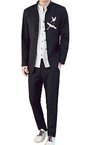 Hombre trajes, Un Color Escote Chino Nailon Negro / Gris XXXL / XXXXL / XXXXXL