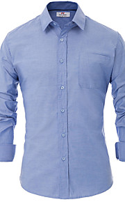 Heren Overhemd Effen blauw L
