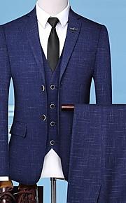 Hombre trajes Cuello Camisero Poliéster Azul Piscina / Gris XL / XXL / XXXL