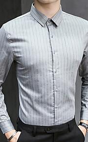 Heren Overhemd Gestreept Grijs XL