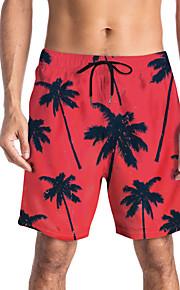 Herre Sporty / Basale Chinos / Shorts Bukser - Blomstret / Tropisk Rød