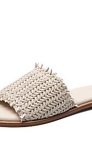 여성용 구두 탄성 직물 여름 캐쥬얼 슬리퍼 플립 플롭 플랫 오픈 토에 일상 용 화이트 / 블랙