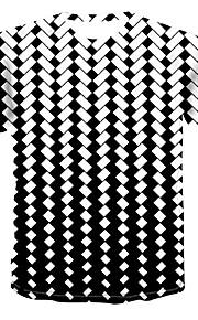 Miesten Pyöreä kaula-aukko Painettu Color Block / 3D / Kuvitettu T-paita Valkoinen XXXXL