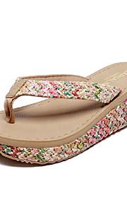 여성용 구두 EVA / 캔버스 여름 캐쥬얼 / 미니멀리즘 슬리퍼 플립 플롭 워킹화 쐐기 뒤꿈치 비치 / 홈 용 베이지