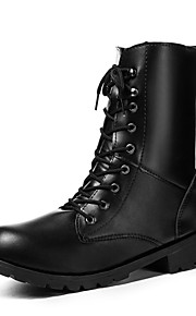 Unisex PU Syystalvi Vintage / Englantilainen Bootsit Block Heel Pyöreä kärkinen Säärisaappaat Niiteillä Musta