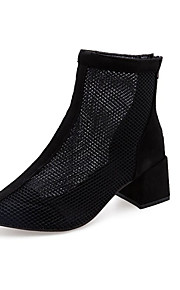 Naisten Silmukka Kesä Vapaa-aika Bootsit Paksu korko Musta / Harmaa