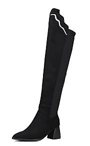 Naisten Block Heel Bootsit Satiini Syystalvi Englantilainen / Preppy-tyyli Bootsit Paksu korko Terävä kärkinen Reisisaappaat Musta / Burgundi / Juhlat