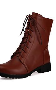 Naisten PU Syystalvi Vintage / Englantilainen Bootsit Matala korko Pyöreä kärkinen Säärisaappaat Musta / Ruskea / Punainen