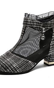Naisten Silmukka Kesä Bootsit Paksu korko Musta / valkoinen
