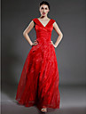 A-Line V Neck Floor Length Organza Mother of the Bride Dress with Ruched Ruffles Cascading Ruffles by LAN TING BRIDE®