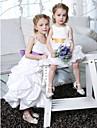A-line printesa glezna lungime floare fată rochie - taffeta mâneci fără curele spaghete cu draping de lan ting bride