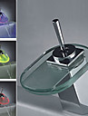 Color Changing LED Waterfall Bathroom Sink Faucet - Chrome Finish