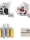 Tattoo Machine Professional Tattoo Kit 2 steel machine liner & shader High Quality LCD power supply 4 x aluminum grip 50 Classic Daily