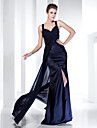 Sheath / Column Straps Floor Length Chiffon Satin Formal Evening / Military Ball Dress with Beading Split Front by TS Couture®