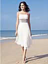 Tubinho Com Alcas Finas Longuette Chiffon Vestidos de noiva personalizados com Lantejoulas de LAN TING BRIDE®