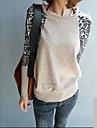 leopard lipitură mânecă gât cămașă tricot