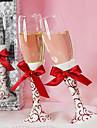 roșu florale model nunta prăjire flaut set cu arcul satin rosu