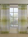 land två paneler blom- botaniska gröna matsalen polyester ren gardiner nyanser