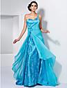 Linha A Assimetrico Cauda Escova Chiffon Cetim Elastico Evento Formal Vestido com Bordado Flor Franzido de TS Couture®