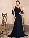 Linha A Decote V Cauda Corte Chiffon Brilho & Glitter Evento Formal Vestido com Broche de Cristal / Franzido de TS Couture®