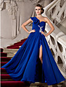 A-Line Princess One Shoulder Floor Length Chiffon Prom Formal Evening Military Ball Dress with Beading Appliques Ruffles Split Front by