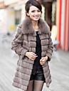 Elegant Long Sleeve Fox Fur Collar Evening Rabbit Fur Coat(More Colors)