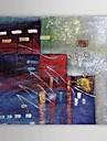 HANDMÅLAD Abstrakt Horisontell Duk Hang målad oljemålning Hem-dekoration En panel