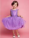 A-line genunchi rochie fata fata rochie - bumbac gât pătrat fără mâneci cu broderie