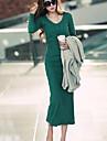 Femei V Neck maneca lunga Bodycon rochii midi