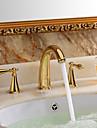 Waschbecken Wasserhahn - Wasserfall Ti-PVD 3-Loch-Armatur Drei Loecher / Zwei Griffe Drei LoecherBath Taps
